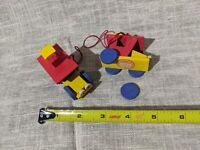 Vtg 2 Steinbach Germany wood Car Christmas Ornament geometric block shape parts
