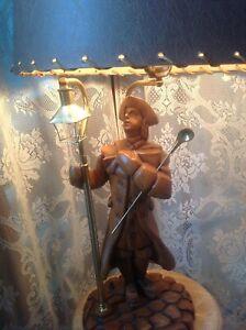 Benjamin Franklin carved wood table lamp folk art