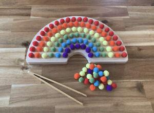 Wooden Rainbow Sorting Board With Tweezers. Montessori, Loose Parts, Fine Motor