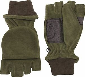 GREEN FLEECE GRIP PALM HALF FINGER WARM WINTER CAP GLOVES HUNTING GLOMITTS