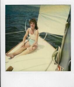 NEW JERSEY COAST GIRL Vintage POLAROID Found Photo COLOR Women 911 11 B