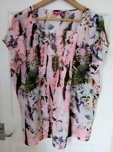 Ladies Together Multicoloured Patterned Studded Blouse UK Size 20 Used