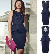 Sz S 8 10 Blue Sleeveless Peplum Mesh Cocktail Party Formal Prom Sexy Fit Dress