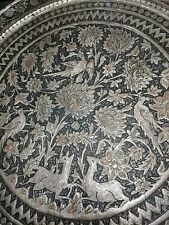 """Large Antique Persian Round Tray Hammered Copper Handcrafted Birds Deer OLD 23"""""""