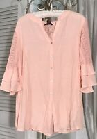 NEW Plus Size 1X Pink Blush Peach Gauze Blouse Lace Crochet Button Top Shirt