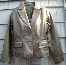 NEW Saks 5TH Avenue FOLIO Bronze 100% Leather Jacket Blazer size 6