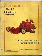 Massey-Harris No. 80 Combine Operating Instructions