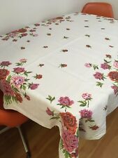 "50s 60s Vintage Printed Table Cloth 64"" X 55"" Rectangle Linen Floral Mid Century"