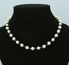 "7-8mm Natural White Akoya Freshwater Pearl 4mm Black Agate Necklace 18"" AAA"