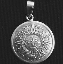 "Vintage Sterling Silver Aztec Sun Pendant  1 1/2"" 11.5 g"