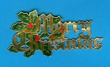 10 GOLD MERRY CHRISTMAS WITH HOLLY PAPER MOTTO cake decoration / card making