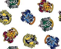 Cotton Fabric - HARRY POTTER BADGES GRYFFINDOR SLYTHERIN - Craft Fabric Material