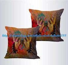 US SELLER-set of 2 retro butterfly cushion cover throw pillow cases