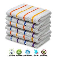 Towelogy® 100% Cotton Tea Towels Rainbow Dobby Weave Kitchen Dish Cloths 65x45cm