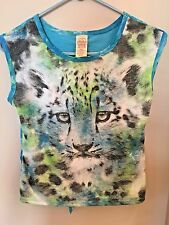 FADED GLORY TURQUOISE SHIRT TOP W/TIGER ON THE FRONT SLEEVELESS GIRLS TEEN 10-12