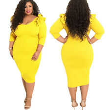 Womens Plus Size Clothing Dress Evening Cocktail Skirt 3/4 Sleeve Bodycon Size L