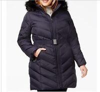 DKNY Women's Winter Black Down puffer parka hooded coat jacket plus 1X 2X $300