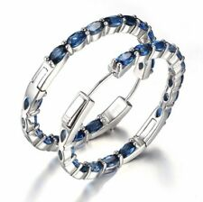 925 sterling silver Sapphire Hoop Earrings [EAR-235]