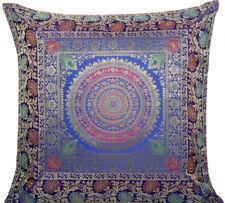 "18"" Indian Traditional Mandala Cushion/Pillow Cover Brocade Sofa Throw Blue"
