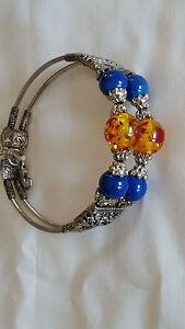 "Artisan Tibetan Silver Lapis & Amber Bead Cuff Bracelet 8"""