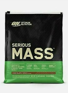 OPTIMUM NUTRITION SERIOUS MASS 12LB WEIGHT GAINER Chocolate 1250 CAL. Exp 2/2022