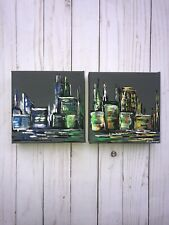Cityscape Acrylic Painting 6x6 Canvases Gallery Wrapped ,Wired ,Diptych Abstract