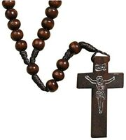 Wholesale 1 dz of Generic Wood Rosary Brown Corded Etched Christ on  Crucifix