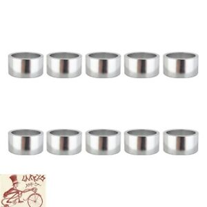 """ORIGIN8 ALLOY 20mm x 1"""" SILVER BICYCLE HEADSET SPACERS--BAG OF 10"""