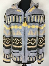 SPARROW ANTHROPOLOGIE Women's M Nordic Hoodie Zip Sweater Fringe Aztec Multi EUC