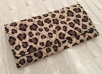 Vera Bradley Trifold Wallet Leopard Beige Large Quilted Cotton NWT MSRP $48