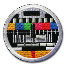 Retro TV Test Patch Iron on Vintage Biker Television Sew Badge DIY Embroidered