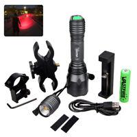 Red LED Flashlight Super Brightness Huting Torch Spotlight Mount+18650 10000LM