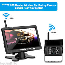 "7"" LCD TFT Monitor Car Rear View System Backup HD Monitor Kit Camera Wireless ES"