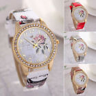 Flower Design Geneva Women Leather Band Analog Quartz Popular Wrist Watch