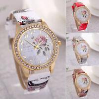 Mode Rose Blume Frauen Mädchen Diamant Leder Armband Quarz Handgelenk Uhr