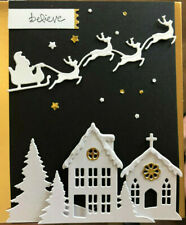 Stampin Up Believe cm stamp & Build A Holiday Scene Layering Dies ~ snowy home