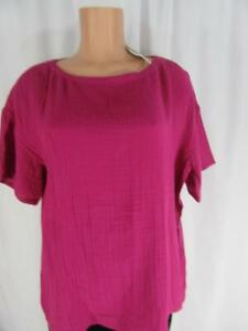 EILEEN FISHER  Magenta Pink Organic Cotton Lofty Gauze Bateau Neck Top M NWT