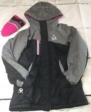 Gerry Girls Jacket S 7/8 Pink Gray Black Hooded Fleece Winter Coat + Pink Beanie