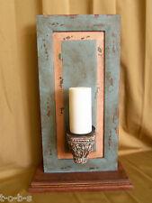 Pottery Barn Antique Vintage Havana Pillar Sconce Wood fireplace Holder + Candle
