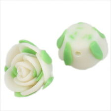 30x Wholesale White Charms FIMO Polymer Clay Rose Flower Beads 15mm 111591