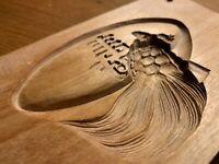 亀  寿 JAPANESE KASHIGATA WOOD CAKE turtle HAND CARVED VINTAGE PLUM WOOD