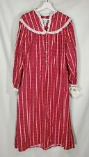 New Lanz of Salzburg Waltz Length Red Stripe Flannel Nightgown Sz S Tyrolean