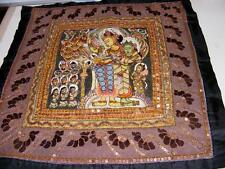 Tibetan Embroidered SILK BROCADE THANGKA w GREEN TARA Elaborate Beaded Tapestry