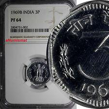India-Republic Aluminum PROOF 1969 B 3 Paise NGC PF64 KM# 14.1