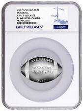 2017 Canada $25 1 Oz Proof Silver Football-Shaped Coin NGC PF69 ER SKU43975