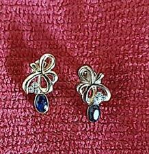 BOUCLES D'OREILLES Façon bijou ancien Pierre bleue, brillants (bijou fantaisie)
