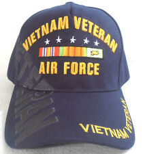 MILITARY CAP AIR FORCE VIETNAM VETERAN   NAVYBLUE HAT WITH SHADOW AND RIBBONS