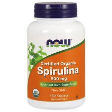 NOW USDA Certified Organic Spirulina 500mg 180 Tabs, 100% Pure, Non-GMO, FRESH