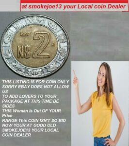 1992 Mexico 2 Pesos National Arms Bi-Metallic coin Age 29 years old is KM#551 4u