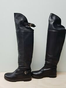 COUNTRY ROAD Womens Size EUR 37 Black Over the Knee All Leather Boots